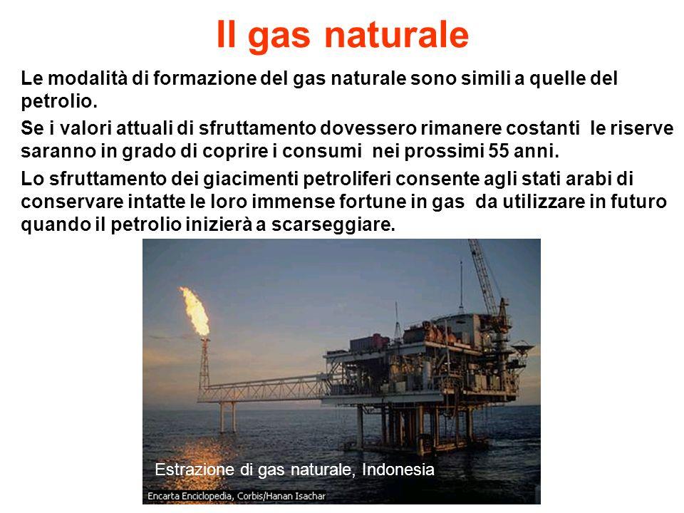 Il gas naturale Le modalità di formazione del gas naturale sono simili a quelle del petrolio. Se i valori attuali di sfruttamento dovessero rimanere c