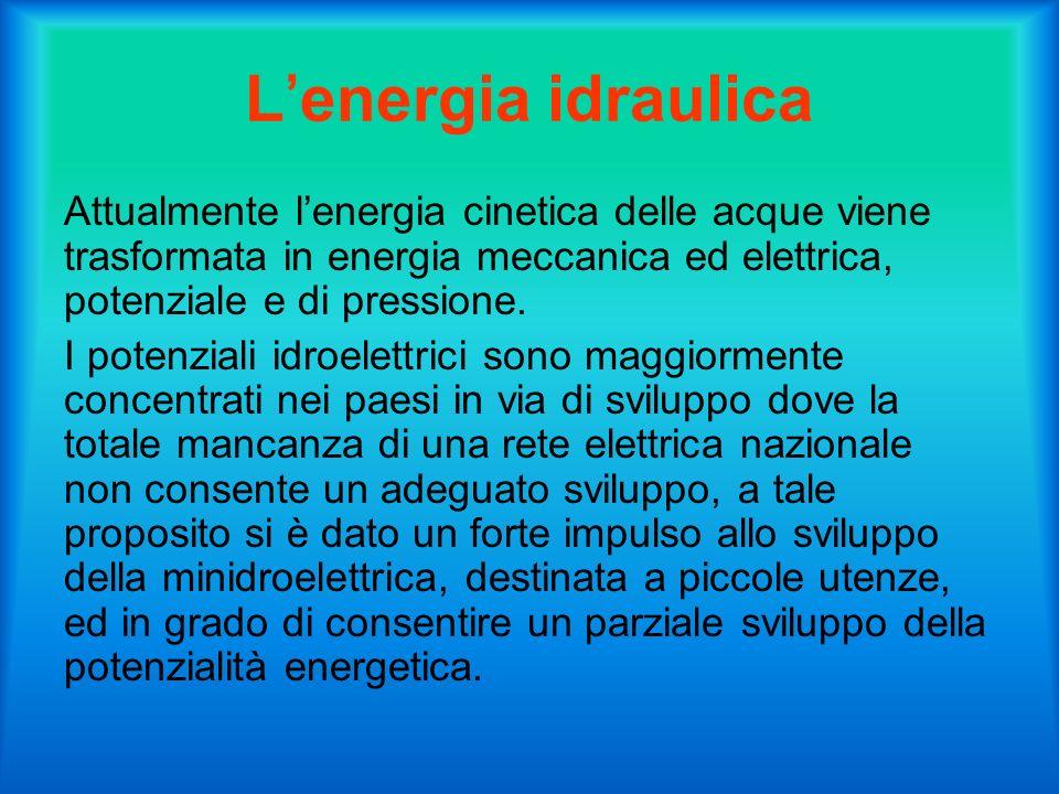Lenergia idraulica Attualmente lenergia cinetica delle acque viene trasformata in energia meccanica ed elettrica, potenziale e di pressione.
