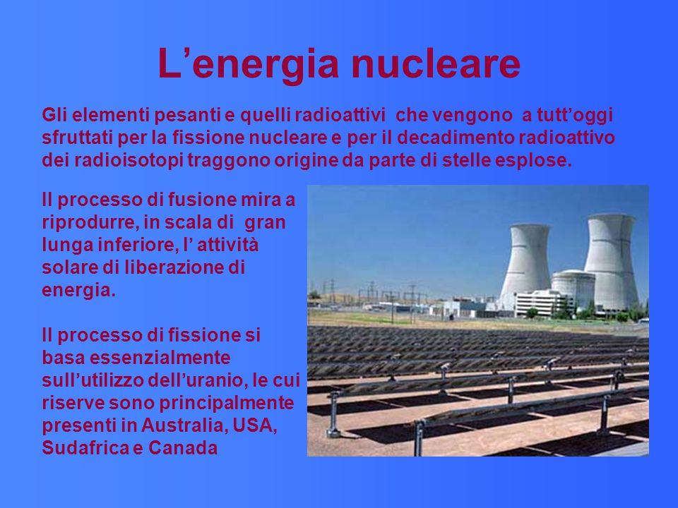 Lenergia nucleare Gli elementi pesanti e quelli radioattivi che vengono a tuttoggi sfruttati per la fissione nucleare e per il decadimento radioattivo dei radioisotopi traggono origine da parte di stelle esplose.