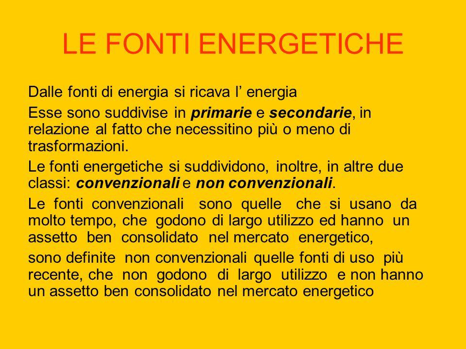 LE FONTI ENERGETICHE Dalle fonti di energia si ricava l energia Esse sono suddivise in primarie e secondarie, in relazione al fatto che necessitino più o meno di trasformazioni.