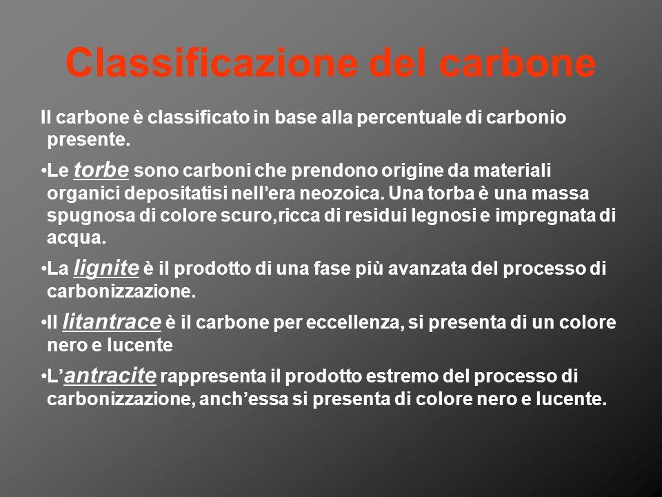 Classificazione del carbone Il carbone è classificato in base alla percentuale di carbonio presente. Le torbe sono carboni che prendono origine da mat