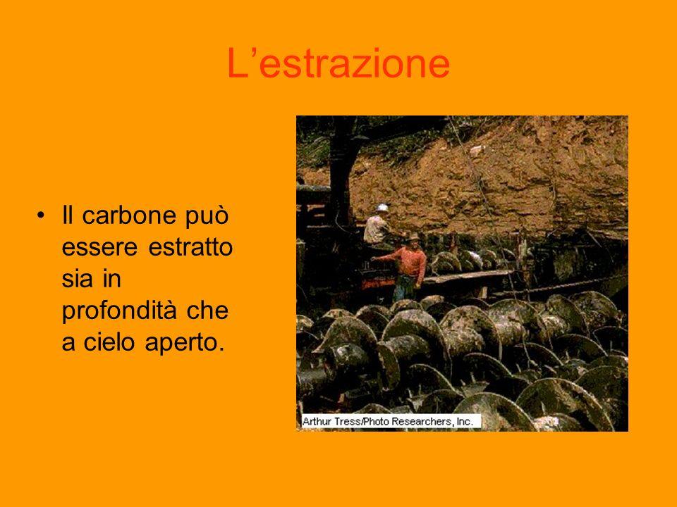 Lestrazione Il carbone può essere estratto sia in profondità che a cielo aperto.
