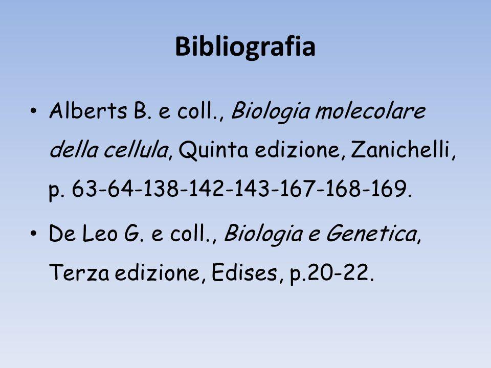 Bibliografia Alberts B.e coll., Biologia molecolare della cellula, Quinta edizione, Zanichelli, p.