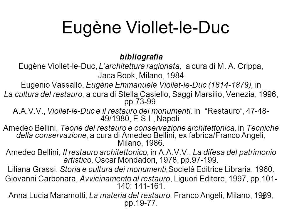 23 Eugène Viollet-le-Duc Arte = sapere (conoscenza) 1: Estetica 1) si può far arte quando si conosce la struttura (logica) della realtà; conoscenza analitica (a) 2) arte = f (u); empirica (b) 3) arte: incremento dessere e di sapere 2: Studio della storia : (b) (a) - forma nazionale - coerenza forma /funzione - coerenza forma / materiali 3: Formazione METODO: - Razionalismo Cartesiano (a) : valorizzazione f (u), Funzione/Forma - Positivismo (b): analisi e classificazione