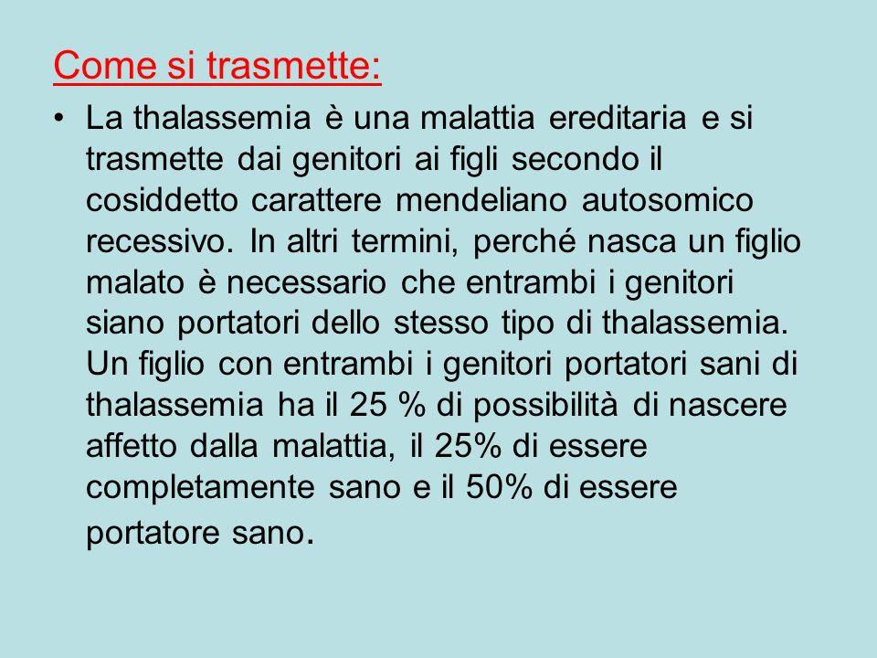 Come si trasmette: La thalassemia è una malattia ereditaria e si trasmette dai genitori ai figli secondo il cosiddetto carattere mendeliano autosomico recessivo.