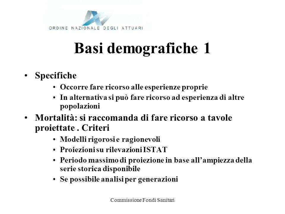 Commissione Fondi Sanitari Basi demografiche 1 Specifiche Occorre fare ricorso alle esperienze proprie In alternativa si può fare ricorso ad esperienz