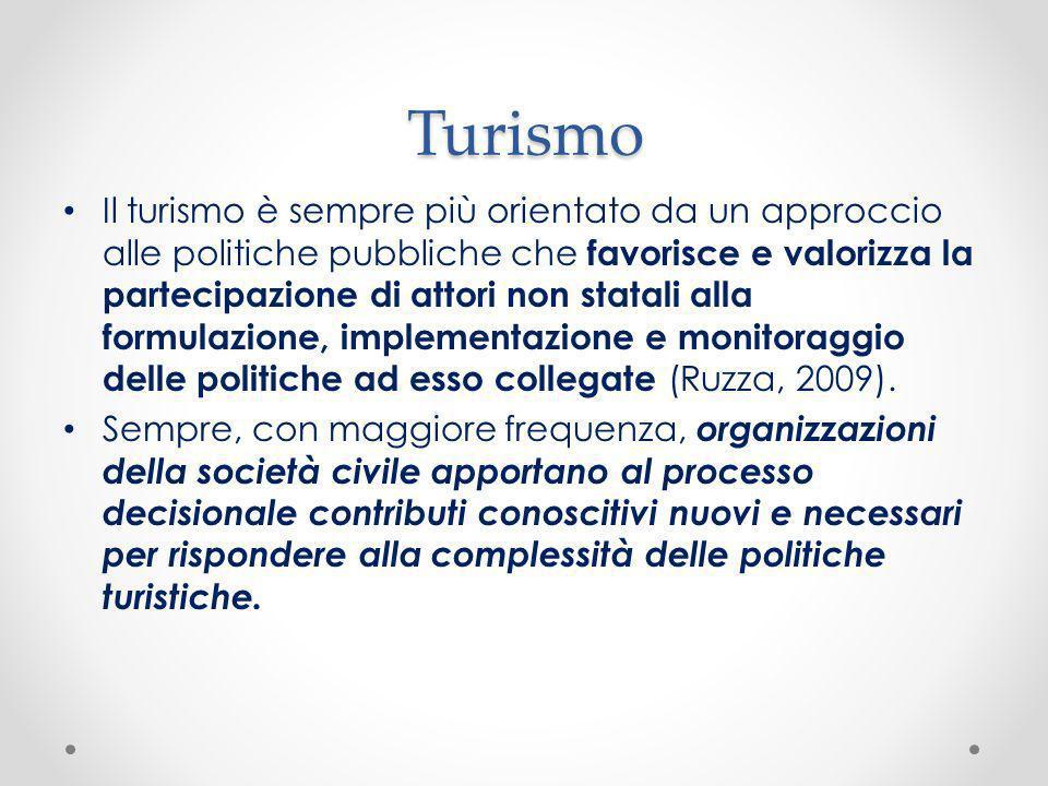 Turismo Il turismo è sempre più orientato da un approccio alle politiche pubbliche che favorisce e valorizza la partecipazione di attori non statali a