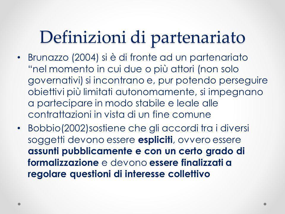 Definizioni di partenariato Brunazzo (2004) si è di fronte ad un partenariato nel momento in cui due o più attori (non solo governativi) si incontrano