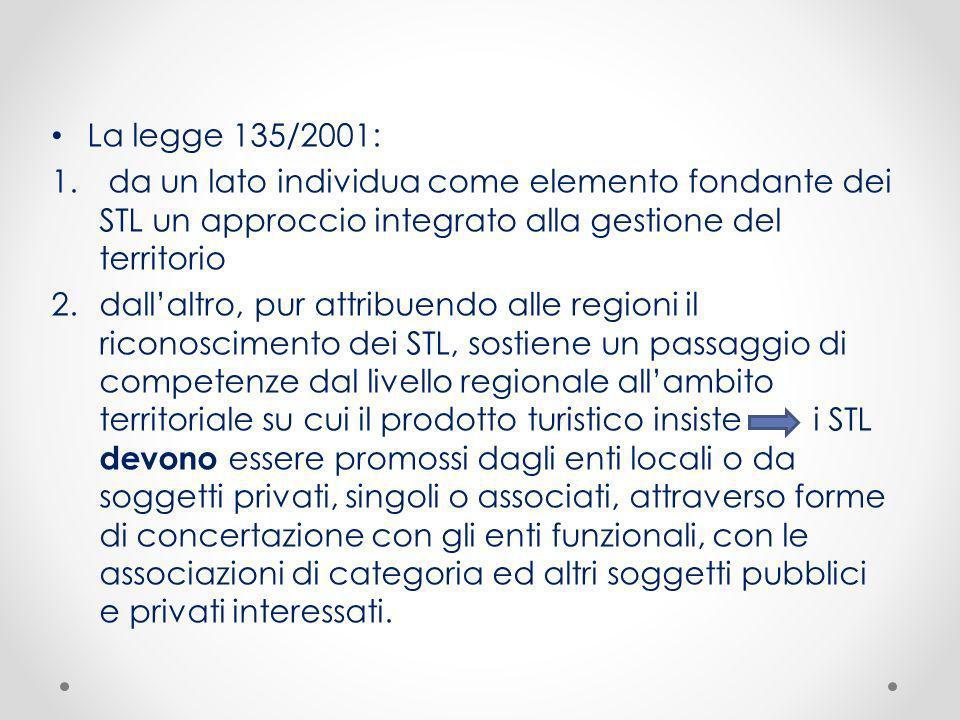 La legge 135/2001: 1. da un lato individua come elemento fondante dei STL un approccio integrato alla gestione del territorio 2.dallaltro, pur attribu