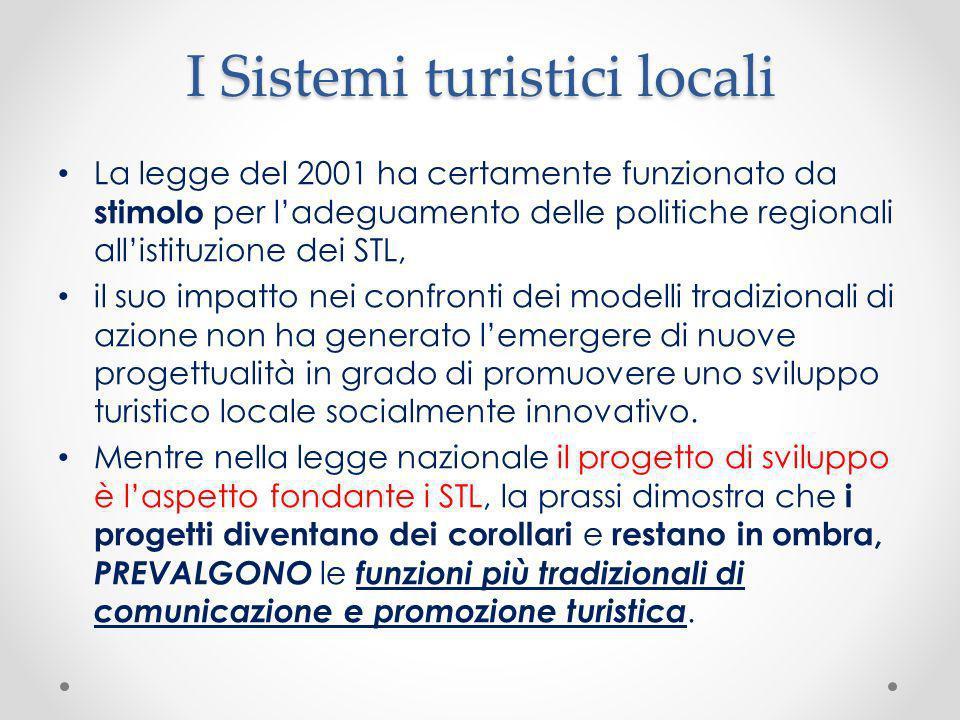 I Sistemi turistici locali La legge del 2001 ha certamente funzionato da stimolo per ladeguamento delle politiche regionali allistituzione dei STL, il