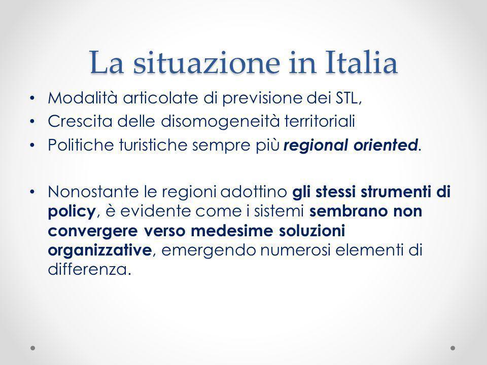 La situazione in Italia Modalità articolate di previsione dei STL, Crescita delle disomogeneità territoriali Politiche turistiche sempre più regional