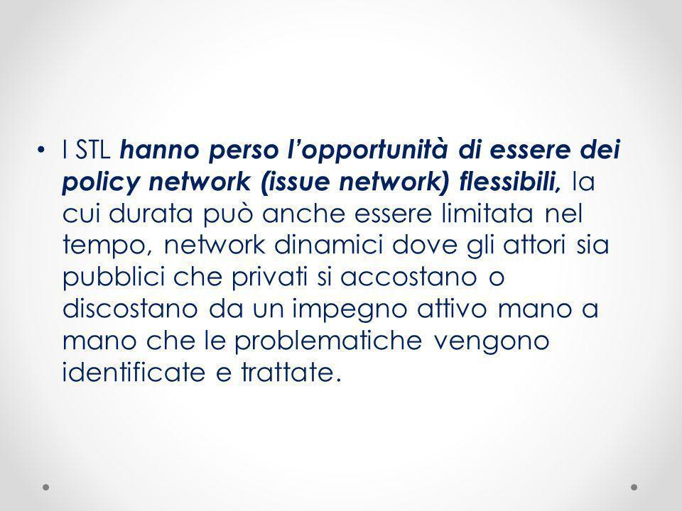 I STL hanno perso lopportunità di essere dei policy network (issue network) flessibili, la cui durata può anche essere limitata nel tempo, network din