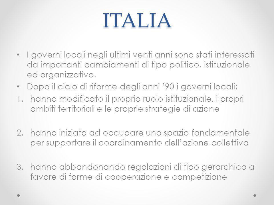 ITALIA I governi locali negli ultimi venti anni sono stati interessati da importanti cambiamenti di tipo politico, istituzionale ed organizzativo. Dop