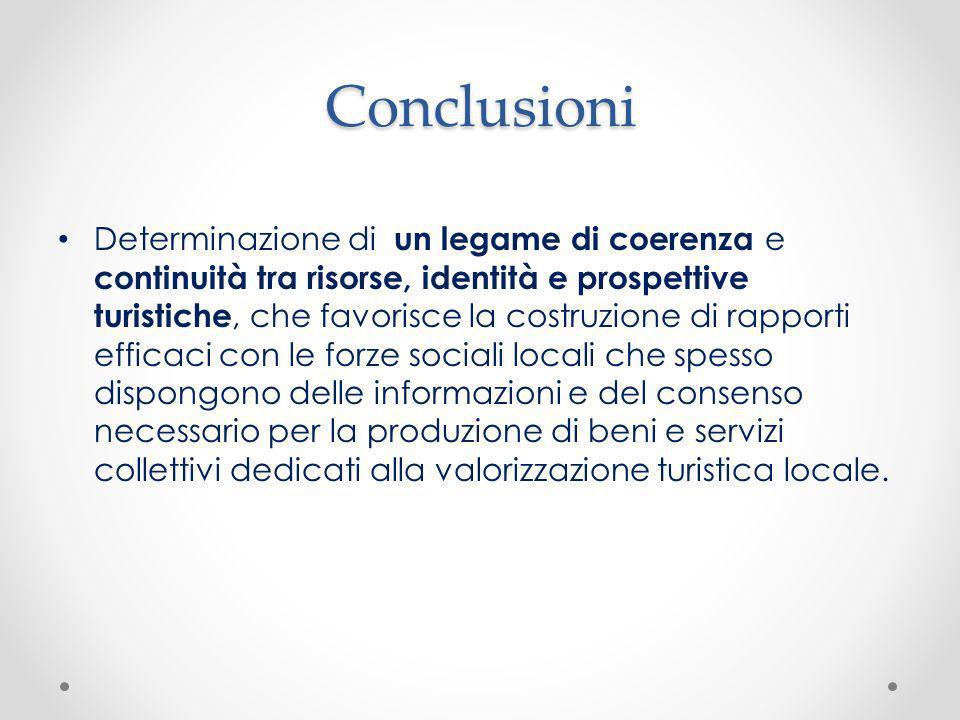 Conclusioni Determinazione di un legame di coerenza e continuità tra risorse, identità e prospettive turistiche, che favorisce la costruzione di rappo