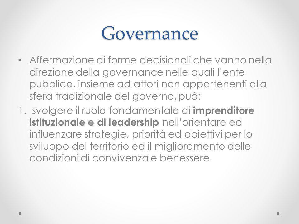 Governance Affermazione di forme decisionali che vanno nella direzione della governance nelle quali lente pubblico, insieme ad attori non appartenenti