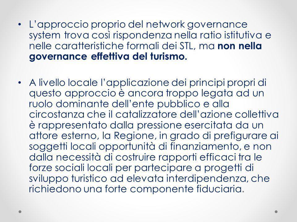 Lapproccio proprio del network governance system trova così rispondenza nella ratio istitutiva e nelle caratteristiche formali dei STL, ma non nella g