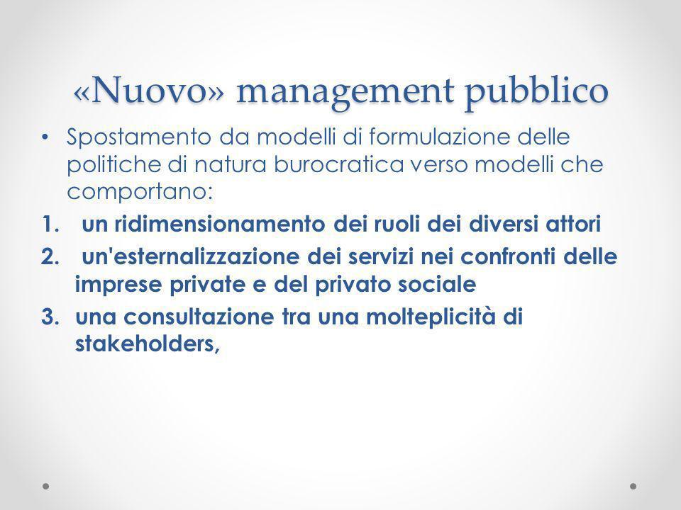 «Nuovo» management pubblico Spostamento da modelli di formulazione delle politiche di natura burocratica verso modelli che comportano: 1. un ridimensi