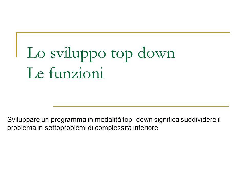 Lo sviluppo top down Le funzioni Sviluppare un programma in modalità top down significa suddividere il problema in sottoproblemi di complessità inferi