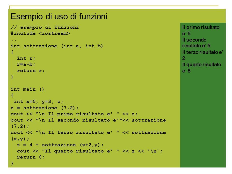Esempio di uso di funzioni // esempio di funzioni #include.. int sottrazione (int a, int b) { int r; r=a-b; return r; } int main () { int x=5, y=3, z;