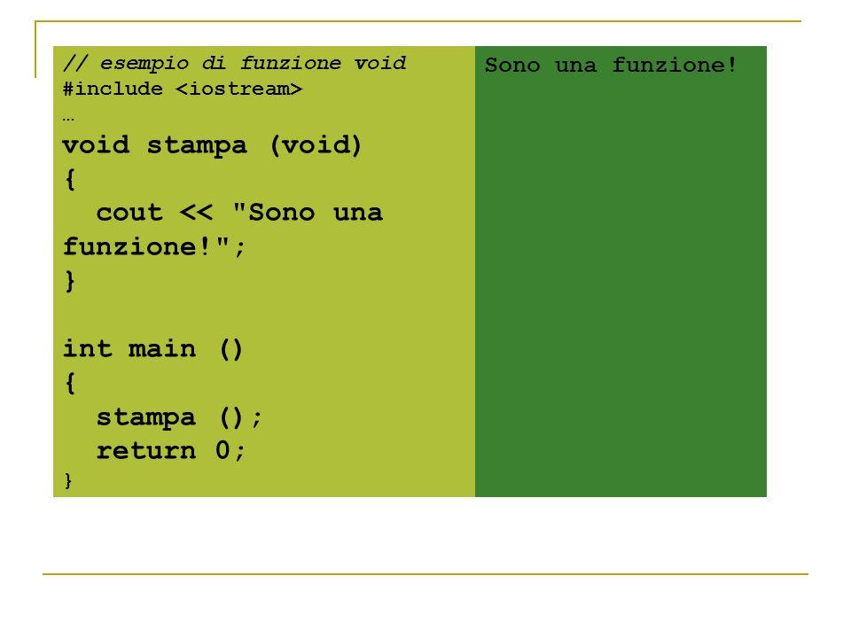 // esempio di funzione void #include … void stampa (void) { cout <<