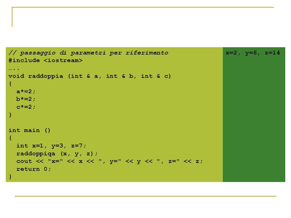 // passaggio di parametri per riferimento #include ….. void raddoppia (int & a, int & b, int & c) { a*=2; b*=2; c*=2; } int main () { int x=1, y=3, z=