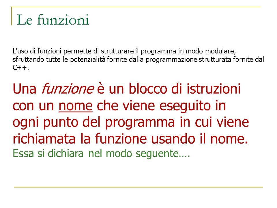 Le funzioni L'uso di funzioni permette di strutturare il programma in modo modulare, sfruttando tutte le potenzialità fornite dalla programmazione str