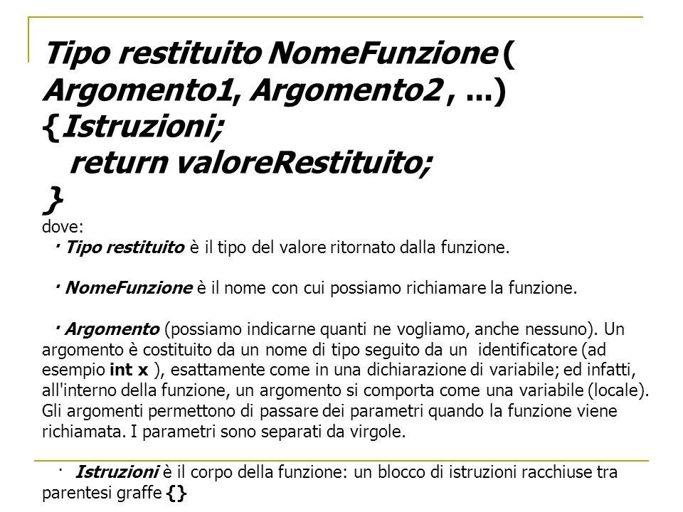 Tipo restituito NomeFunzione ( Argomento1, Argomento2,...) {Istruzioni; return valoreRestituito; } dove: · Tipo restituito è il tipo del valore ritorn