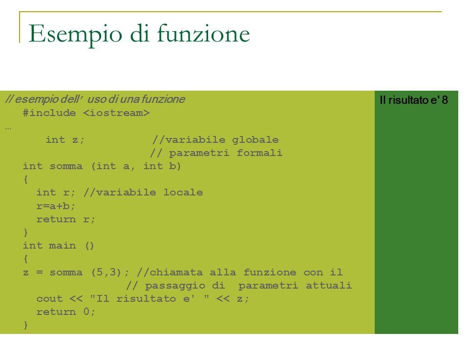 // esempio dell uso di una funzione #include … int z; //variabile globale // parametri formali int somma (int a, int b) { int r; //variabile locale r=