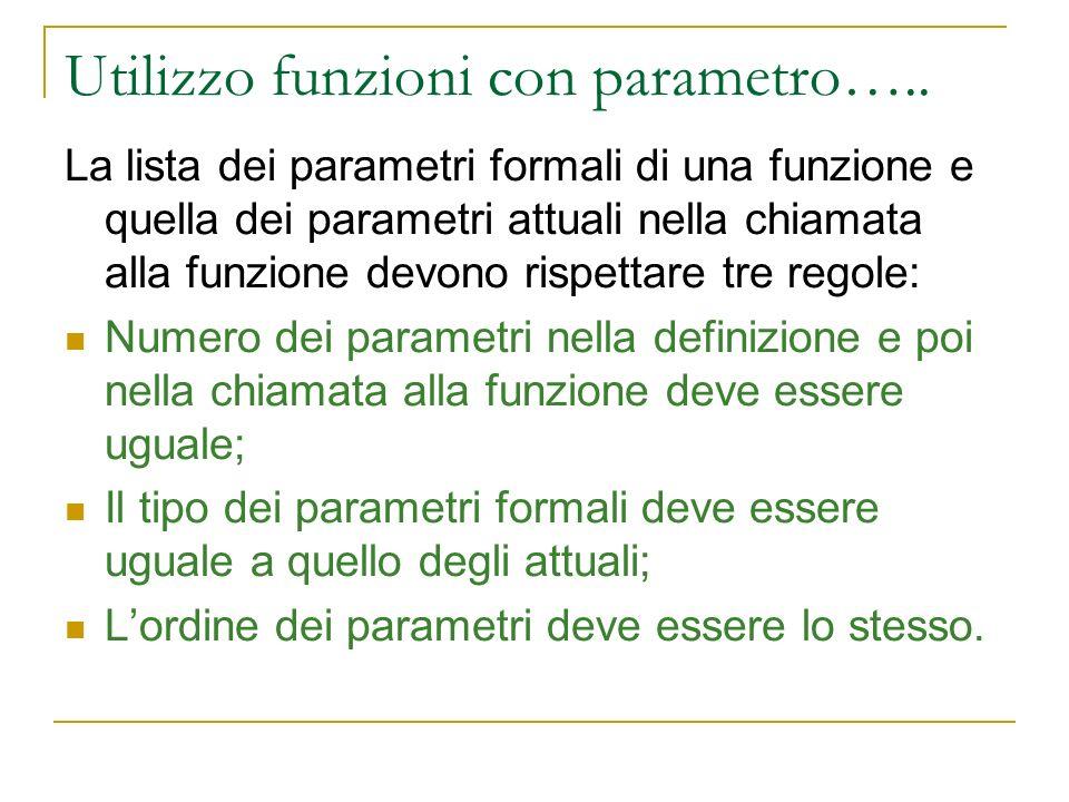 Utilizzo funzioni con parametro….. La lista dei parametri formali di una funzione e quella dei parametri attuali nella chiamata alla funzione devono r