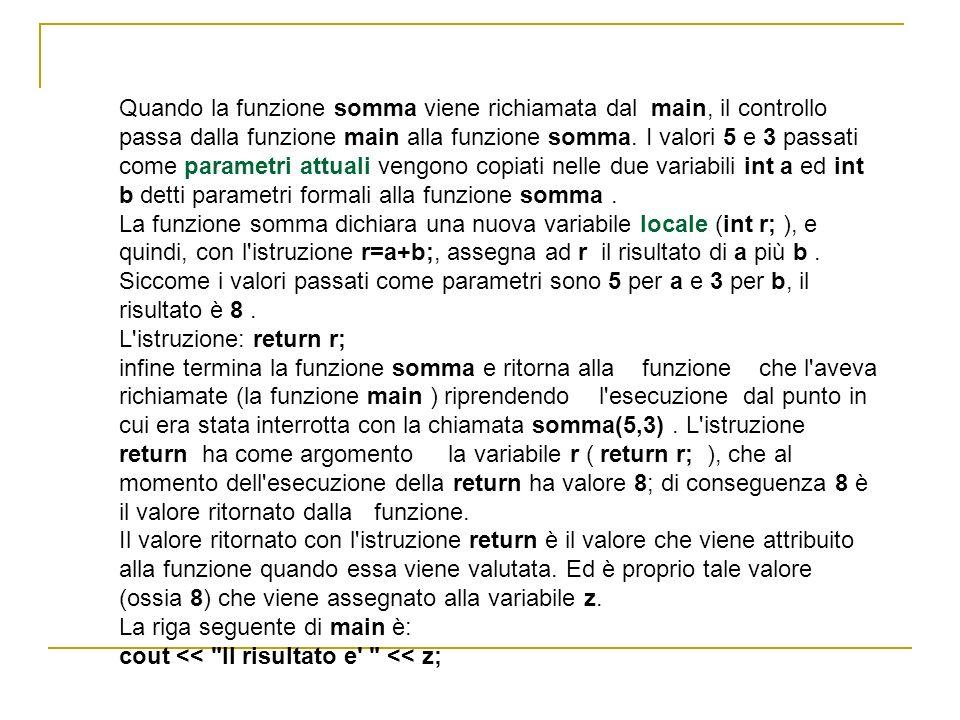 Quando la funzione somma viene richiamata dal main, il controllo passa dalla funzione main alla funzione somma. I valori 5 e 3 passati come parametri