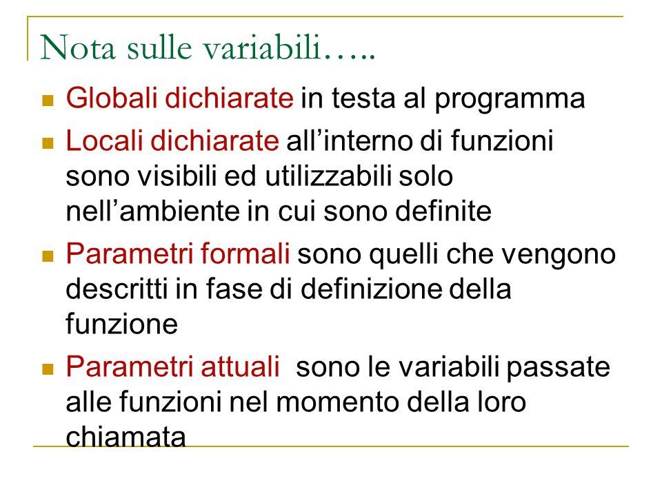 Nota sulle variabili….. Globali dichiarate in testa al programma Locali dichiarate allinterno di funzioni sono visibili ed utilizzabili solo nellambie