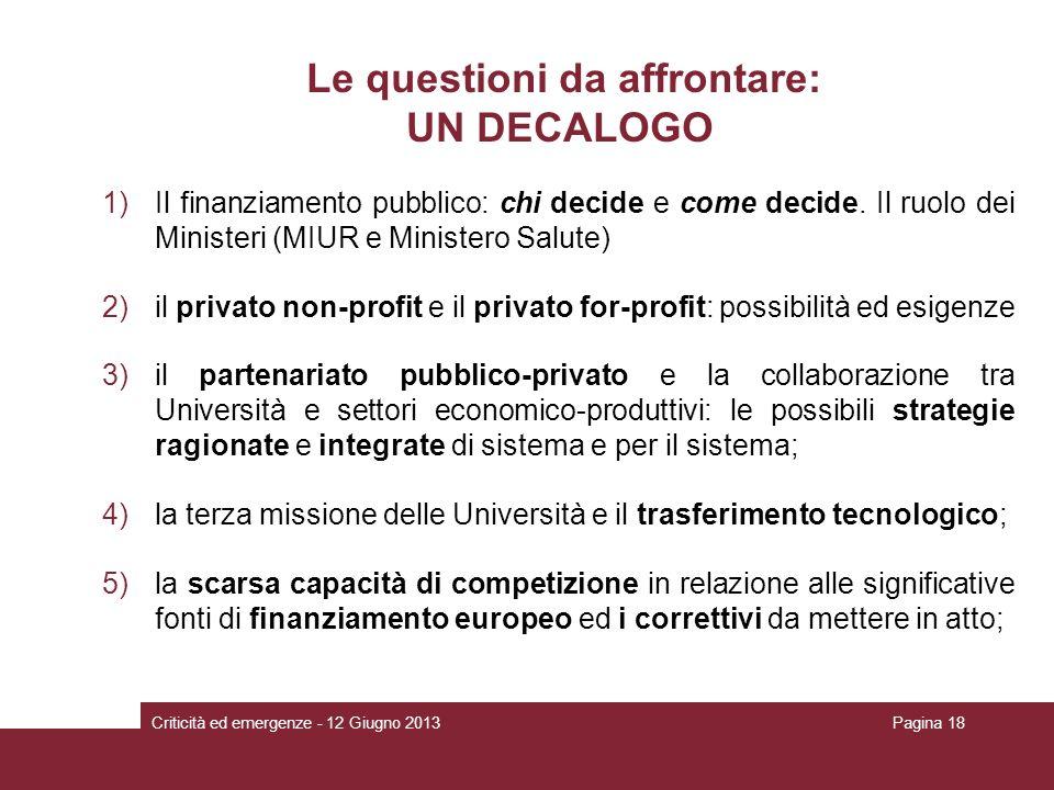 Le questioni da affrontare: UN DECALOGO 1)Il finanziamento pubblico: chi decide e come decide. Il ruolo dei Ministeri (MIUR e Ministero Salute) 2)il p