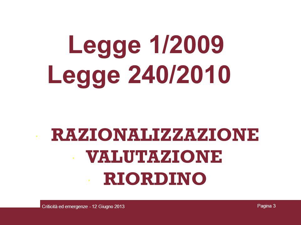 RAZIONALIZZAZIONE VALUTAZIONE RIORDINO Legge 1/2009 Legge 240/2010 Criticità ed emergenze - 12 Giugno 2013 Pagina 3