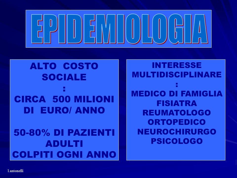 ALTO COSTO SOCIALE : CIRCA 500 MILIONI DI EURO/ ANNO 50-80% DI PAZIENTI ADULTI COLPITI OGNI ANNO INTERESSE MULTIDISCIPLINARE : MEDICO DI FAMIGLIA FISI