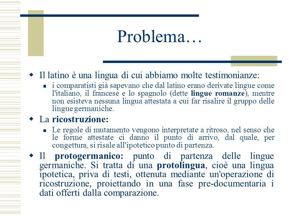 Problema… Il latino è una lingua di cui abbiamo molte testimonianze: i comparatisti già sapevano che dal latino erano derivate lingue come l'italiano,