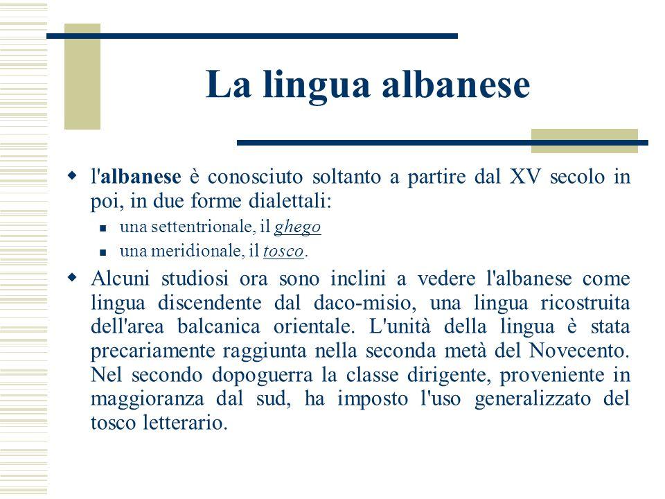 La lingua albanese l'albanese è conosciuto soltanto a partire dal XV secolo in poi, in due forme dialettali: una settentrionale, il ghego una meridion