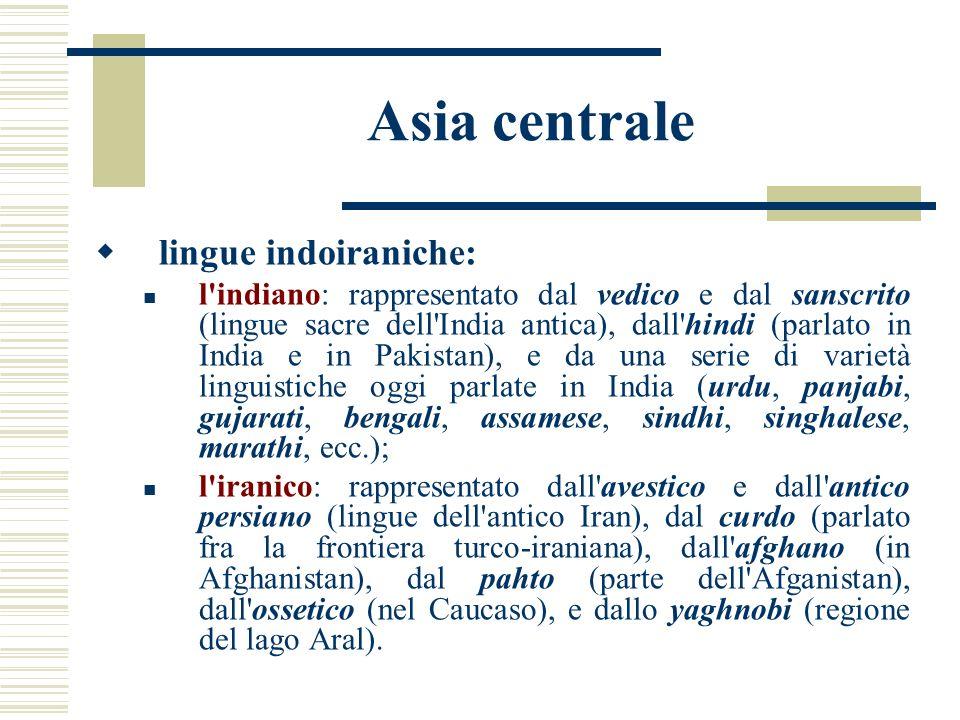 Asia centrale lingue indoiraniche: l'indiano: rappresentato dal vedico e dal sanscrito (lingue sacre dell'India antica), dall'hindi (parlato in India