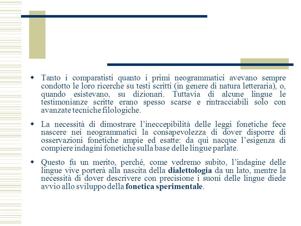 Tanto i comparatisti quanto i primi neogrammatici avevano sempre condotto le loro ricerche su testi scritti (in genere di natura letteraria), o, quand