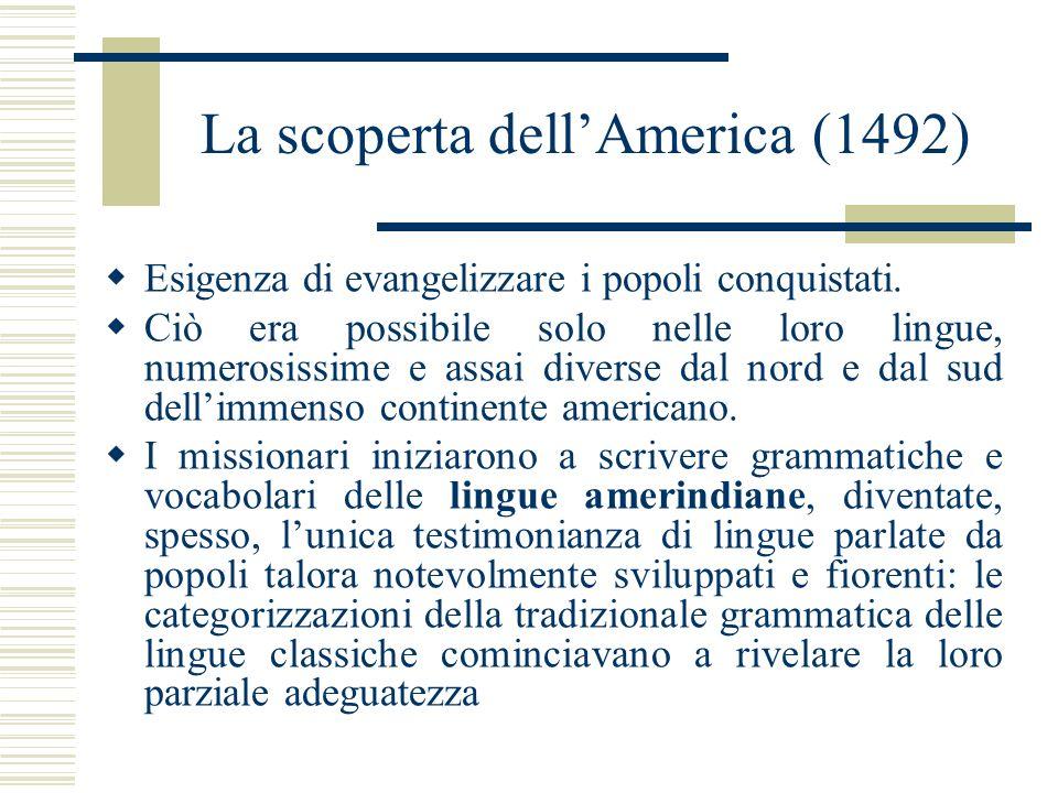 La scoperta dellAmerica (1492) Esigenza di evangelizzare i popoli conquistati. Ciò era possibile solo nelle loro lingue, numerosissime e assai diverse