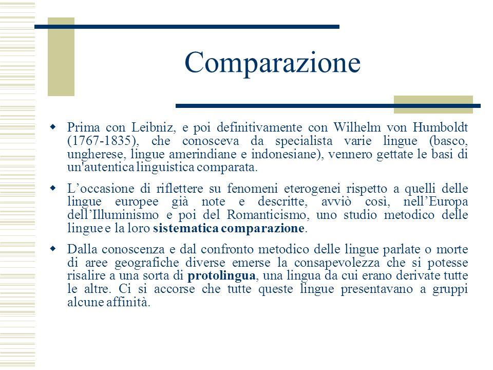 Comparazione Prima con Leibniz, e poi definitivamente con Wilhelm von Humboldt (1767-1835), che conosceva da specialista varie lingue (basco, ungheres