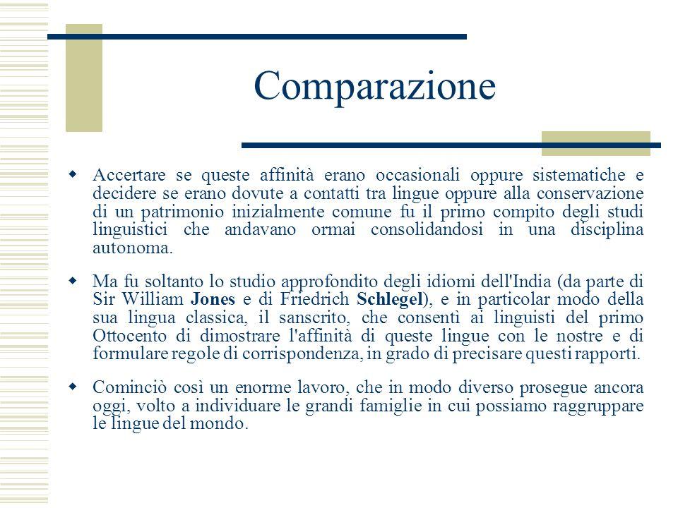 Comparazione Accertare se queste affinità erano occasionali oppure sistematiche e decidere se erano dovute a contatti tra lingue oppure alla conservaz