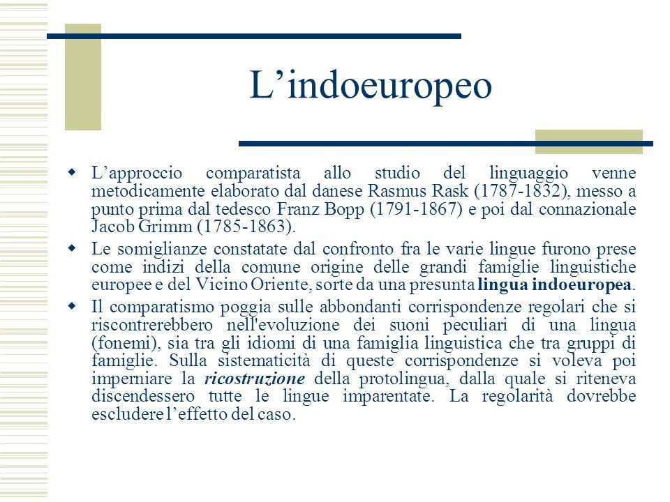 Lindoeuropeo Lapproccio comparatista allo studio del linguaggio venne metodicamente elaborato dal danese Rasmus Rask (1787-1832), messo a punto prima