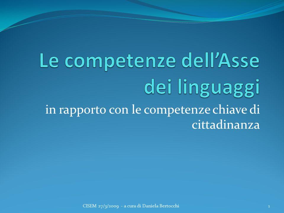 in rapporto con le competenze chiave di cittadinanza 1CISEM 27/3/2009 - a cura di Daniela Bertocchi