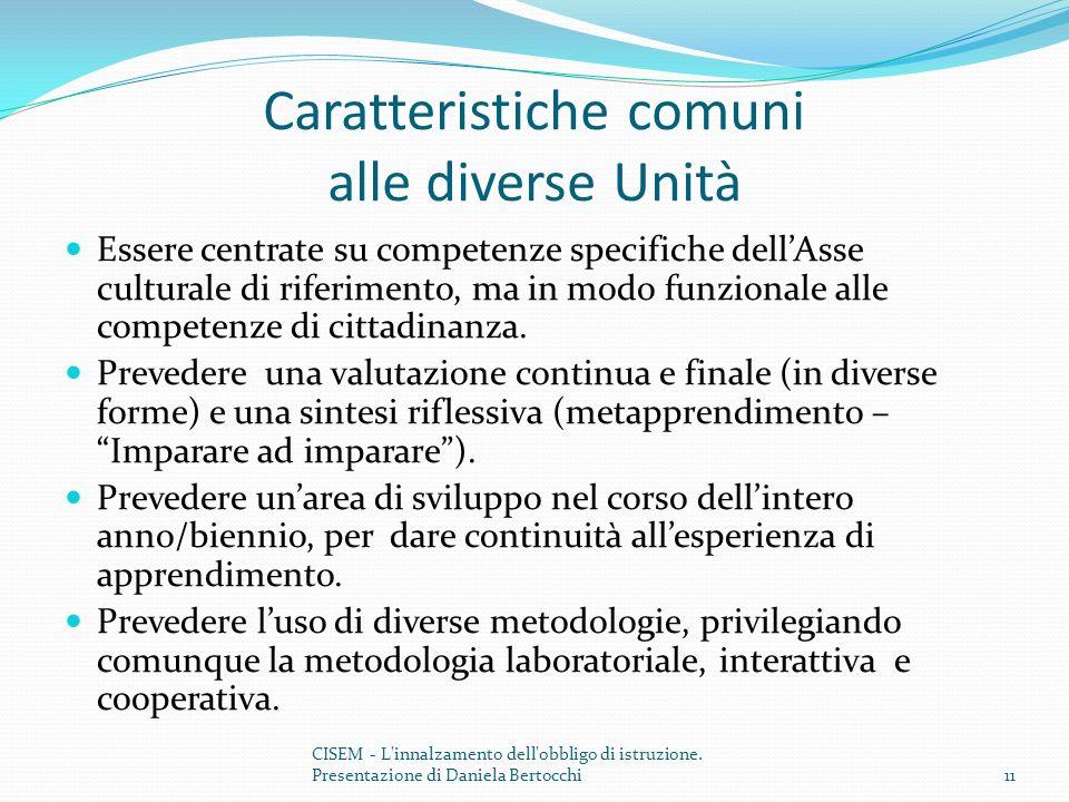 Caratteristiche comuni alle diverse Unità Essere centrate su competenze specifiche dellAsse culturale di riferimento, ma in modo funzionale alle competenze di cittadinanza.