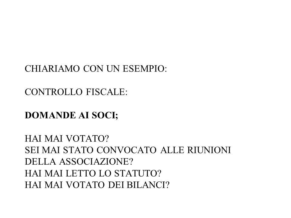 CHIARIAMO CON UN ESEMPIO: CONTROLLO FISCALE: DOMANDE AI SOCI; HAI MAI VOTATO.
