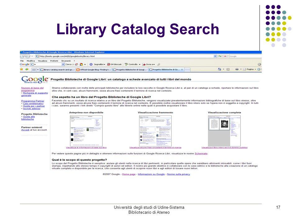 Università degli studi di Udine-Sistema Bibliotecario di Ateneo 17 Library Catalog Search