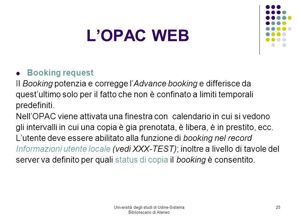 Università degli studi di Udine-Sistema Bibliotecario di Ateneo 25 LOPAC WEB Booking request Il Booking potenzia e corregge lAdvance booking e differisce da questultimo solo per il fatto che non è confinato a limiti temporali predefiniti.