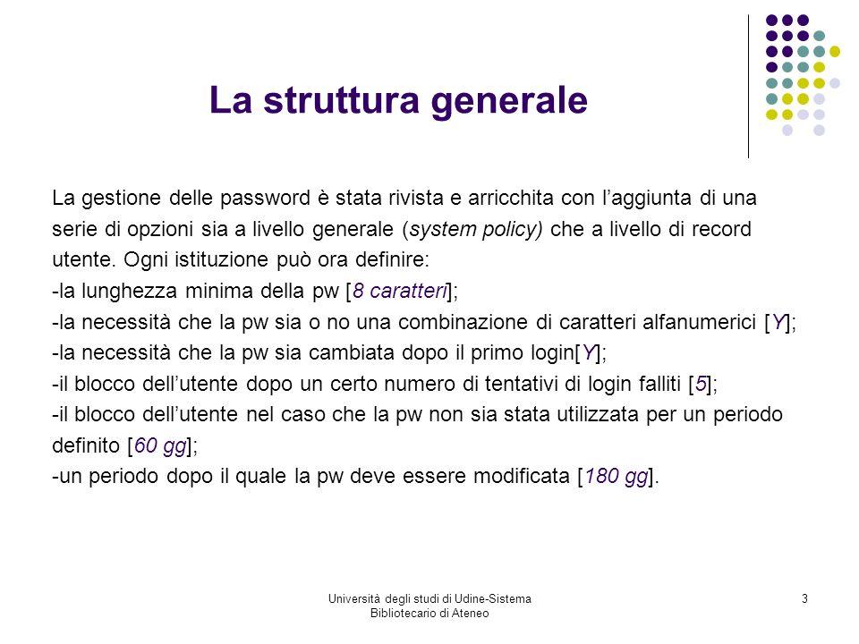 Università degli studi di Udine-Sistema Bibliotecario di Ateneo 4 Nuovi campi nel record utente NUOVO