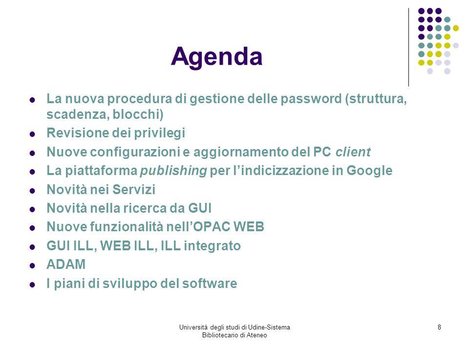 Università degli studi di Udine-Sistema Bibliotecario di Ateneo 29 Interfaccia Utenti – Evoluzione Vecchia GUI ILL Web ILL Nuova GUI ILL