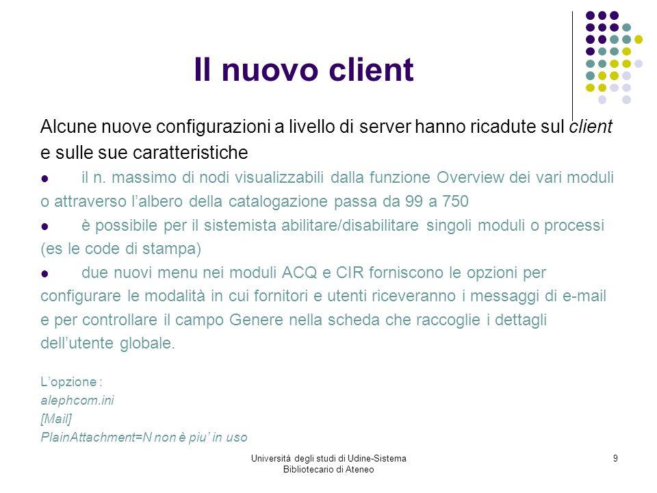 Università degli studi di Udine-Sistema Bibliotecario di Ateneo 30 Il nuovo modulo ILL2 Il kit di migrazione ha migrato i dati e le tabelle del database UDN20 al suo omologo sulla versione 18 e le transazioni di prestito a UDN50.